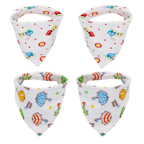 "Joyfay® 4-Pack Baby Bandana Drool Bibs - ""Car and Umbrella"" Set"