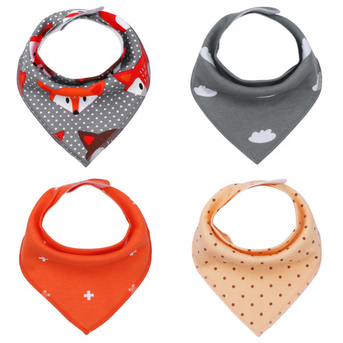 "Joyfay® 4-Pack Baby Bandana Drool Bibs - ""Point"" Set"