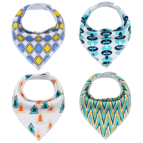 "Joyfay® 4-Pack Baby Bandana Drool Bibs - ""Yellow - Blue"" Set"
