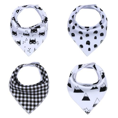 "Joyfay® 4-Pack Baby Bandana Drool Bibs - ""Black - White"" Set"