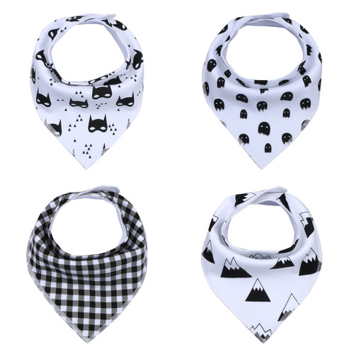 "Joyfay® 4-Pack Baby Bandana Drool Bibs - ""Black - White"" Set"
