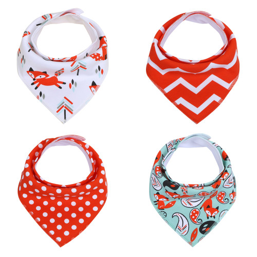 "Joyfay® 4-Pack Baby Bandana Drool Bibs - ""Red Fox"" Set"