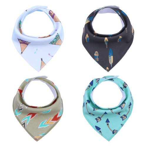 "Joyfay® 4-Pack Baby Bandana Drool Bibs - ""Arrow"" Set"