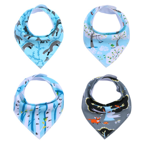 "Joyfay® 4-Pack Baby Bandana Drool Bibs - ""Blue"" Set"