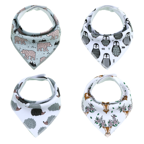 "Joyfay® 4-Pack Baby Bandana Drool Bibs - ""Animal"" Set"