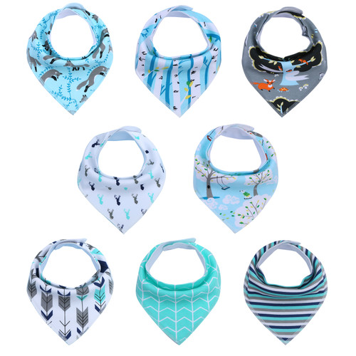 "Joyfay® 8-Pack Baby Bandana Drool Bibs - ""Blue and Gray"" Set"