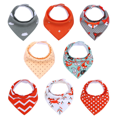 "Joyfay® 8-Pack Baby Bandana Drool Bibs - ""Grey and Red"" Set"