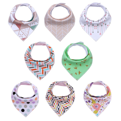 "Joyfay® 8-Pack Baby Bandana Drool Bibs - ""Flower"" Set"