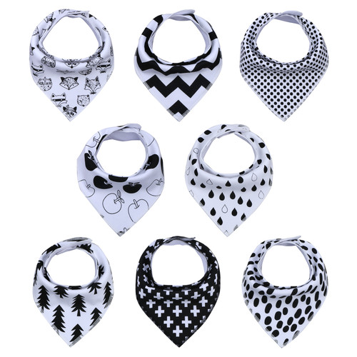 "Joyfay® 8-Pack Baby Bandana Drool Bibs - ""White and Black"" Set"