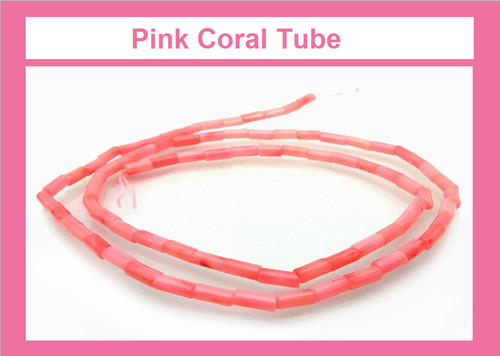 """3x9mm Pink Coral Tube Beads 15.5"""" [k15p]"""