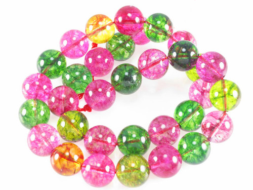 "12mm Ice Quartz Round Beads 15.5"" Natural Dyed [m405]"