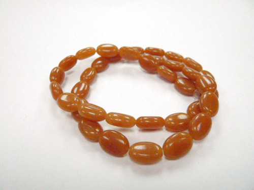 """8x12mm Red Aventurine Puff Oval Beads 15.5"""" [r11a1]"""