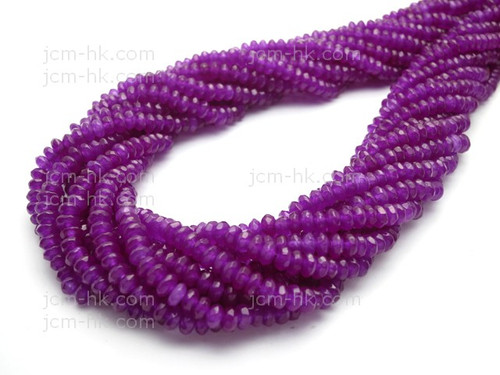 """4mm Purple Jade Faceted Rondelle Beads 15.5"""" dyed. [sc1b72]"""