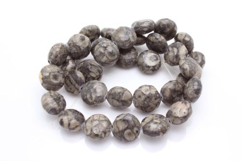 "12mm Fossil Jasper Puff Coin Beads 15.5"" [s4b37-12]"