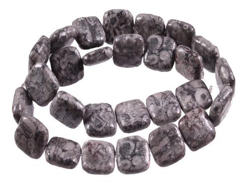 "15mm Fossil Jasper Puff Square Beads 15.5"" [s5b37-15]"