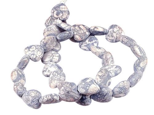 """12mm Matte Fossil Jasper Puff Heart Beads 15.5"""""""