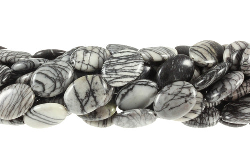 "g349 15x20mm Zebra Agate Oval Beads 15.5"""