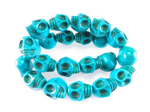 """23x18mm Blue Magnesite Skull Beads 15.5"""""""