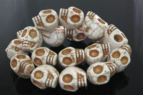 """23x18mm White Magnesite Skull Beads 15.5"""""""