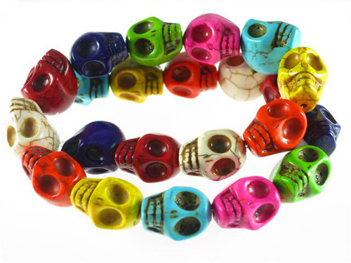 """23x18mm Mix Color Magnesite Skull Beads 15.5"""""""