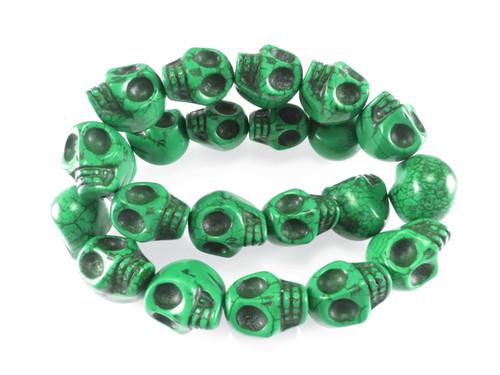 """18x13mm Green Magnesite Skull Beads 15.5"""""""