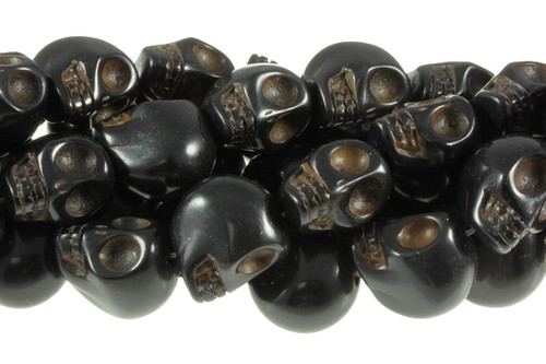 18x13mm Black Magnesite Skull Beads 15.5""
