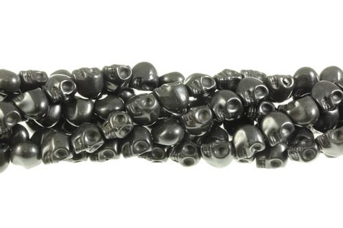 """12x10mm Black Magnesite Skull Beads 15.5"""""""