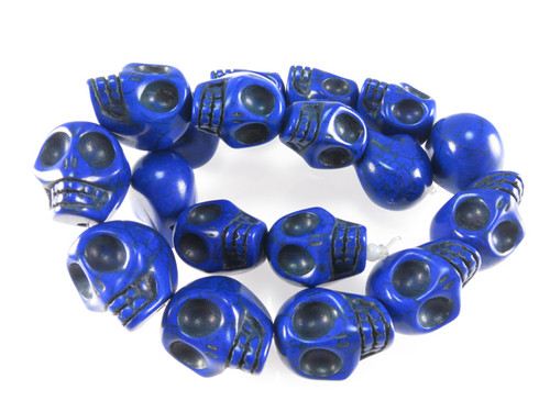 "12x10mm Lapis Magnesite Skull Beads 15.5"""