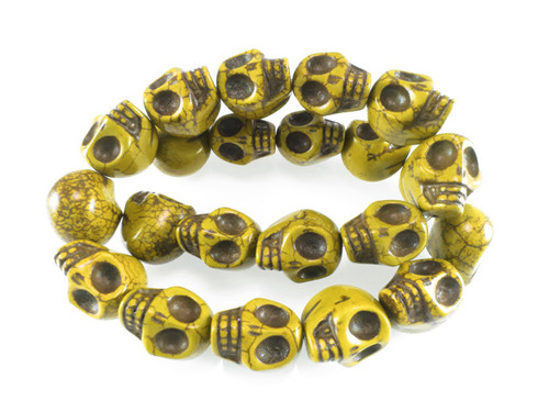"""12x10mm Yellow Magnesite Skull Beads 15.5"""""""