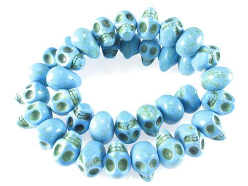 """14x10mm Blue Magnesite Skull Beads 15.5"""""""