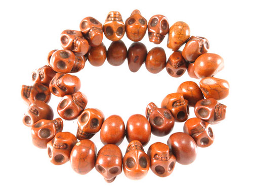 14x10mm Coffee Magnesite Skull Beads 15.5""