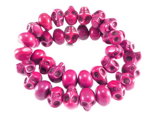 "14x10mm Pink Magnesite Skull Beads 15.5"""