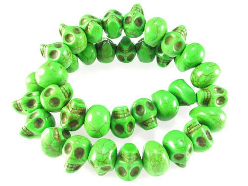 """14x10mm Green Magnesite Skull Beads 15.5"""""""