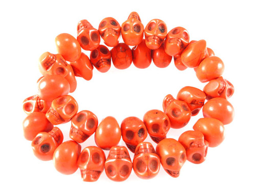 14x10mm Orange Magnesite Skull Beads 15.5""