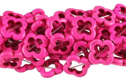 "20x20mm Pink Magnesite Star Flower Beads 15.5"" [t351f]"