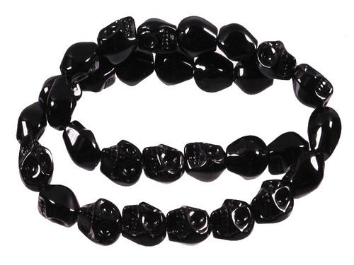 """e752 12mm Black Obsidian Skull Beads 15.5"""""""