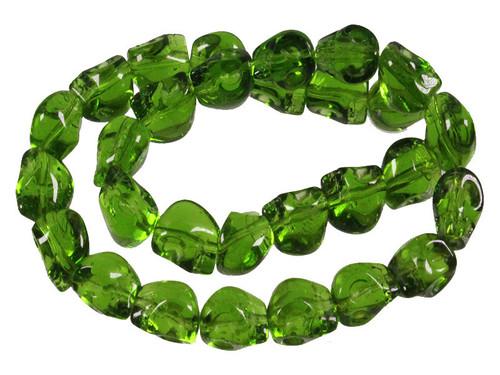 "12mm Green Quartz Skull Beads 15.5"" synthetic"