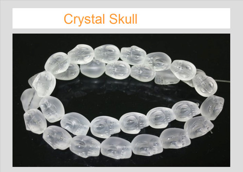 """12mm Matte Crystal Skull Beads 15.5"""" synthetic"""