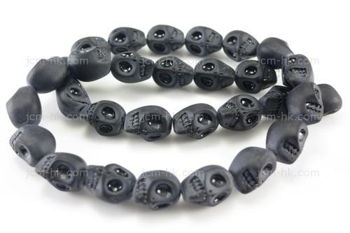 """12mm Matte Black Obsidian Skull Beads 15.5"""""""
