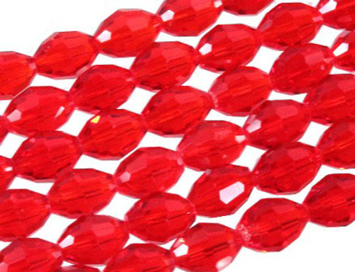 """4x6mm Red Crystal Faceted Rice About 72 Bead 17"""" [uc11a6]"""