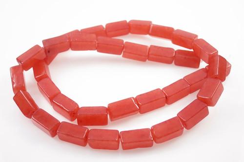 "6x12x6mm Orange Quartz Tube Beads 15.5"" dyed [w642]"