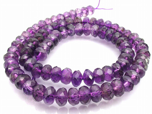 """6mm Amethyst Faceted Rondelle Beads 15.5"""" synthetic [sc2d11]"""