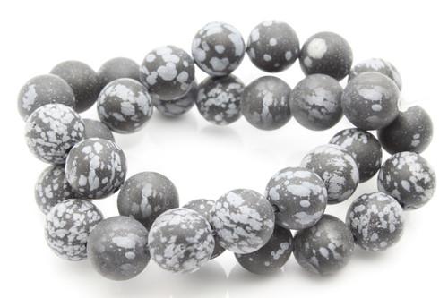 "6mm Matte Snowflake Obsidian Round Beads 15.5"""