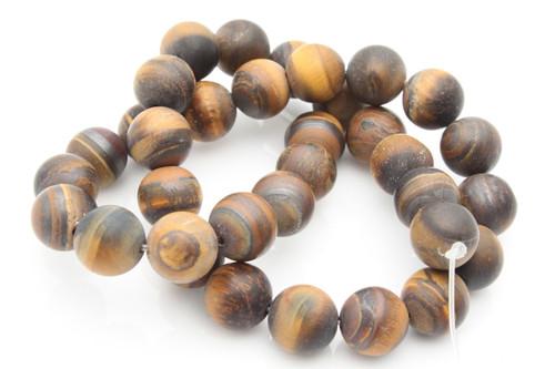 "10mm Matte Tiger Eye Round Beads 15.5"""