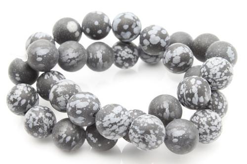 "12mm Matte Snowflake Obsidian Round Beads 15.5"""
