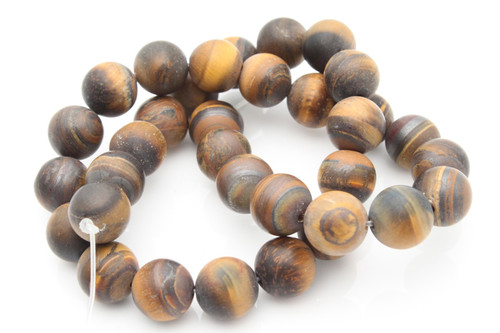 "12mm Matte Tiger Eye Round Beads 15.5"""