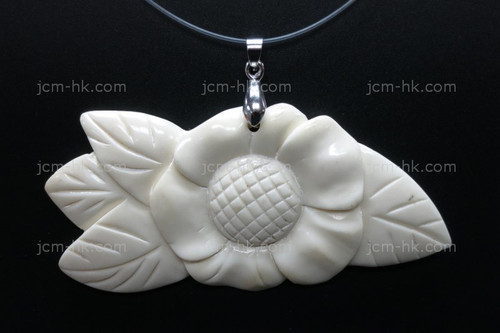 80X35mm Buffalo Bone Rose Flower Focal Bead Pendant