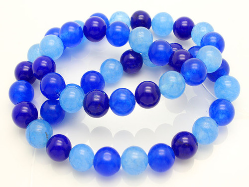 "4mm Mix Blue Jade Round Beads 15.5"" dyed"