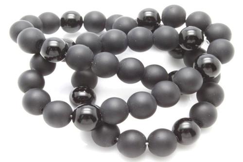 "4mm Black Agate Polish & Matte Round Beads 15.5"""