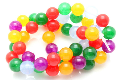 "8mm Mix Jade Round Beads 15.5"" dyed"